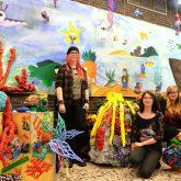 JKS-Schüler in ihrer Unterwasserwelt. v.l. Marina, Carmen, Jenny und Felix.