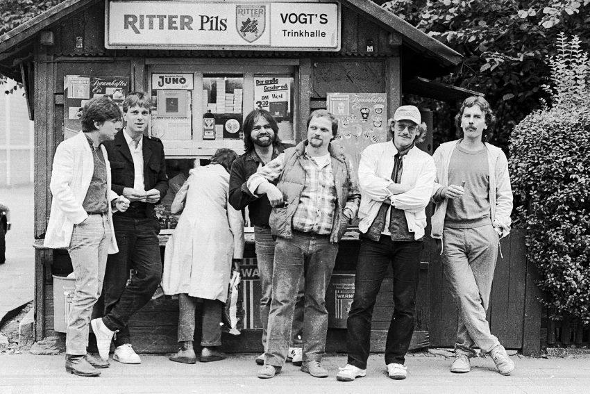 1984. Das 2. Line-Up der Band mit: v.l. Matthias Resch an den trommeln, Wolfgang Berke, Uli Kazmierski, Fritz Magdalinski, Rainer Koslowski und Gerd Linke.
