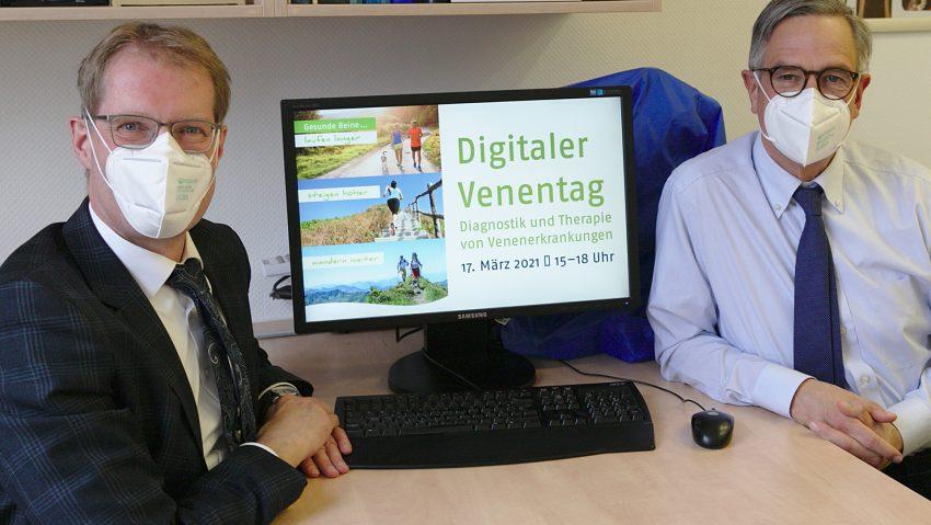In der Corona-Pandemie informieren Prof. Markus Stücker (li.) und Prof. Achim Mummeerstmals online über Vorsorge-Möglichkeiten und Therapien bei Venenleiden. Foto: Kath. Klinikum