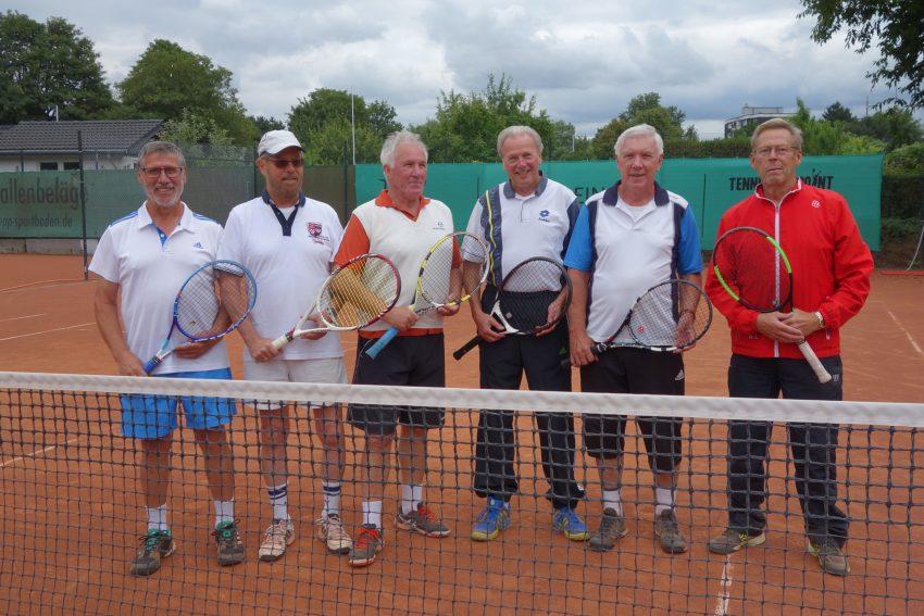 Emschertaler Herren 70 werden Gruppensieger in der Westfalenliga. v.l. Heinz Saul, Dr.Peter Rummelt, Gerd Krümmel, Norbert Loer, Theo Kümpel, Bernd Lichtner.