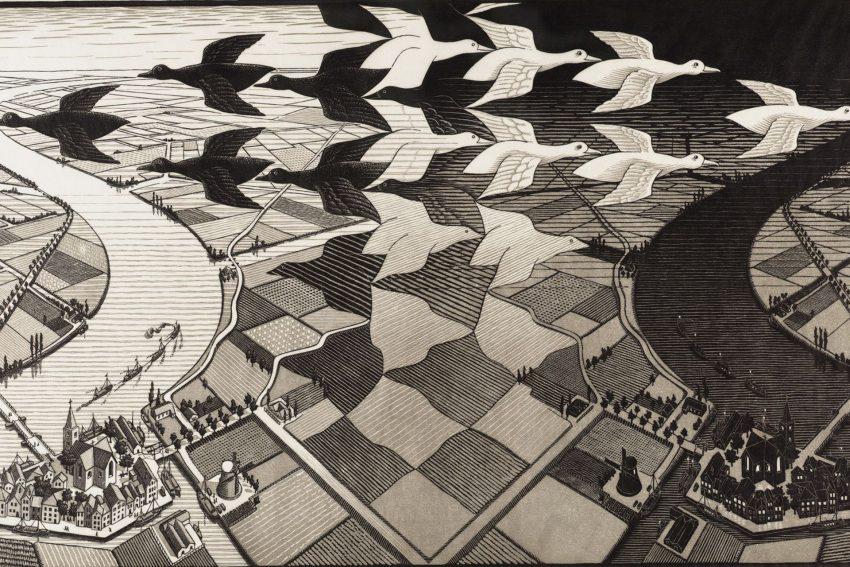 """Dag en Nacht"""" von M. C. Escher."""