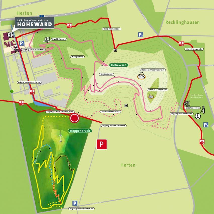 Übersicht der neuen Mountainbike-Strecken auf den Halden Hoppenbruch und Hoheward