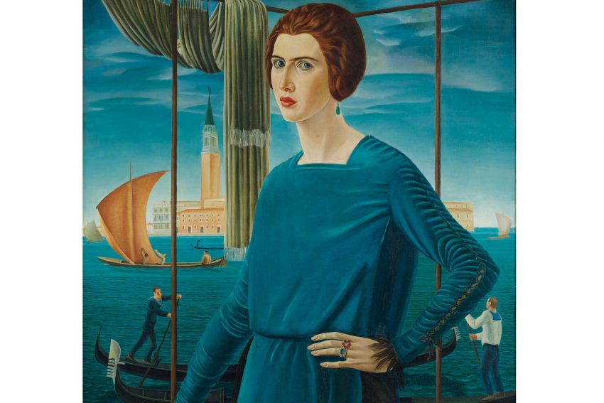 Ubaldo Oppi: Die Frau des Künstlers vor venezianischer Kulisse, 1921.