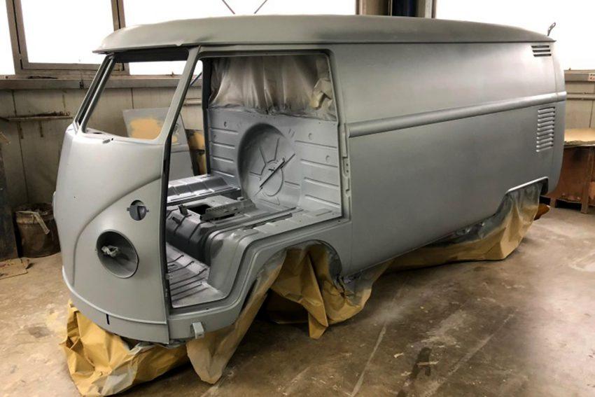 Restaurierung eines VW Bulli T1 für Reifen Stiebling.