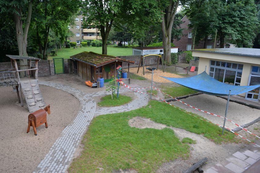 Außengelände des Kindergartens St. Franziskus während der Pandemie.