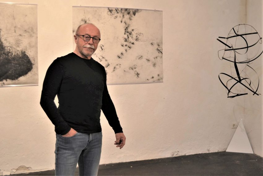 Zechenkünstler auf Unser Fritz: Werner Ryschawy versteht sich als Zeichner – auch bei seinem kinetischen Objekt.