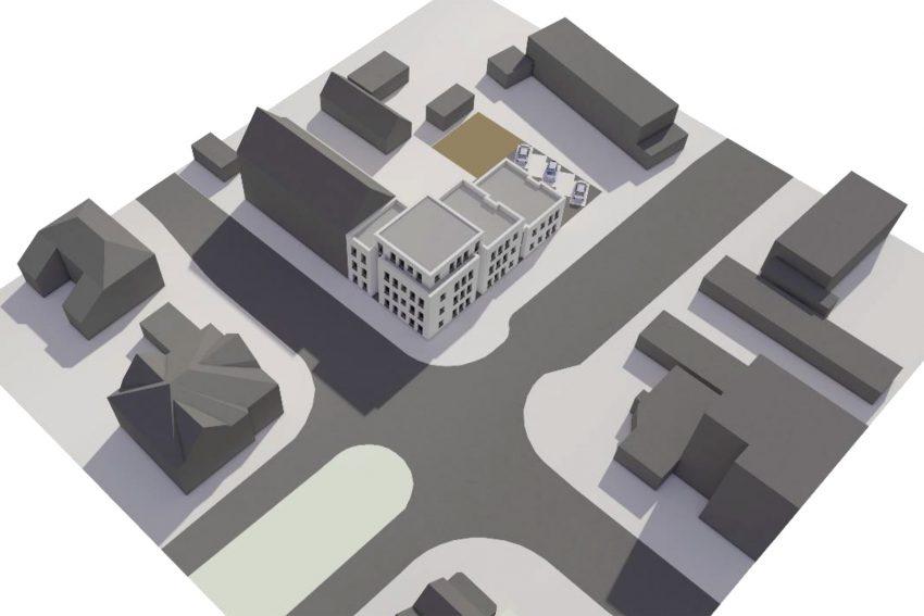 Entwurf für den Neubau eines Appartementhaus für die wewole Stiftung an der Castroper Straße 282 Ecke Von-Bodelschwingh-Straße 1a, in Herne (NW). Dort soll ab Sommer ein 4-geschossiges Gebäude mit 24 Wohnungen für Menschen mit Behinderungen (geistige Behinderungen, körperliche Behinderungen, psychische Behinderungen), als Ersatzbau für einen anderen Wohnheim-Standort, entstehen. Die wewole STIFTUNG investiert ca. 2,5 Mio. Euro in das gesamte Projekt, darin ist der Kaufpreis enthalten. Die ersten Bewohner sollen im April 2021 einziehen.