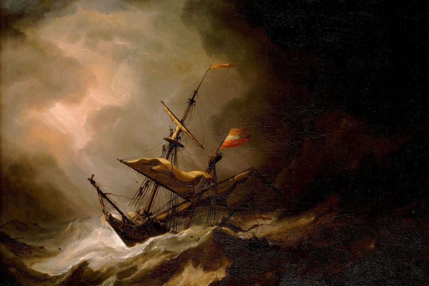 William Turner Ausstellung in Münster: A Mediterranean Brigantine Drifting onto a Rocky Coast in a Storm, um 1700,