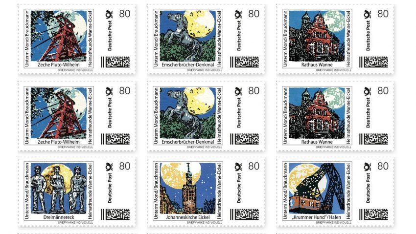 Neue Sonderbriefmarkenserie mit zehn Motiven aus Wanne-Eickel von der Gesellschaft für Heimatkunde Wanne-Eickel. Gestaltet von Matthias Brauckmann.