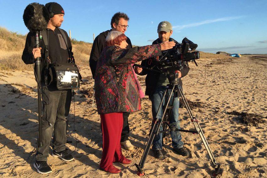 Agnès Varda und ihr Kamerateam François Décréau, Claire Duguet und Julia Fabry.