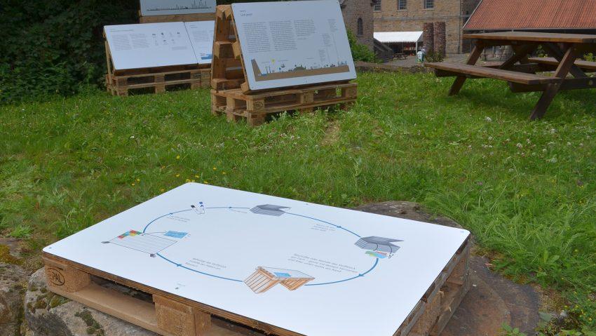 Auf Paletten sind die Ausstellungstafeln auf dem Gelände der Zeche Nachtigall montiert.