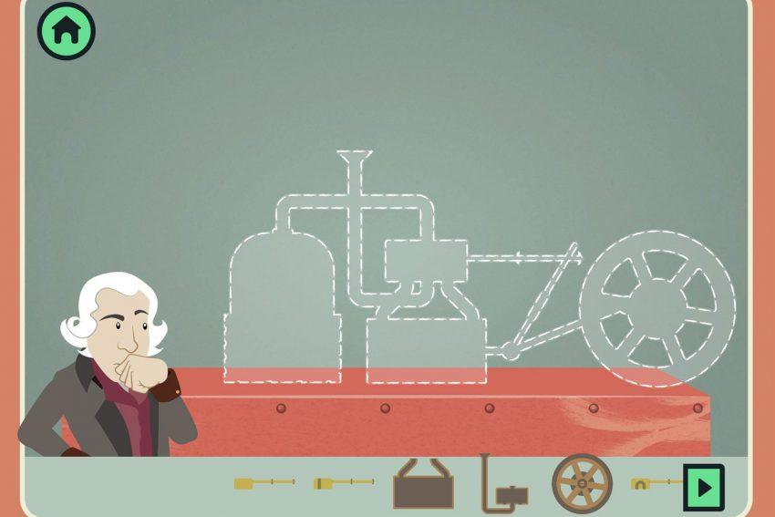 In fünf Leveln zur laufenden Dampfmaschine: Auch James Watt braucht Hilfe bei der Konstruktion seiner Dampfmaschine.