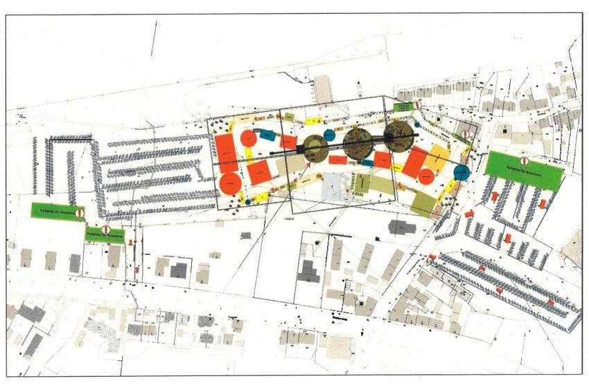 Plan Cranger Weihnachtskirmes aus dem Genehmigungsbescheid 'Cranger Weihnachtszauber' der Stadt Herne vom 05.10.2018.