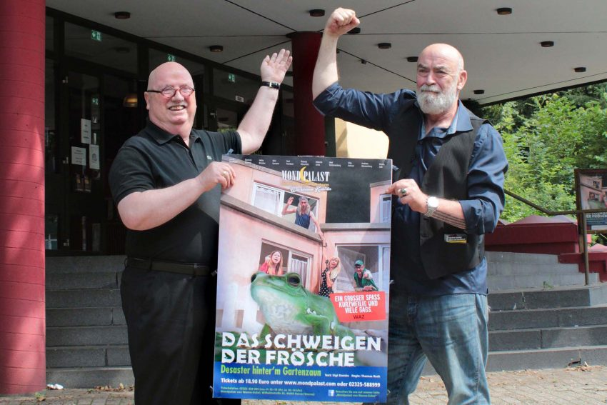 Freuen sich gemeinsam auf den Restart des Mondpalasts: Prinzipal Christian Stratmann und Gründungsintendant Thomas Rech.