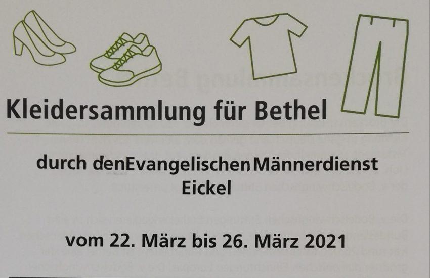 Plakat 'Kleidersammlung für Bethel'.