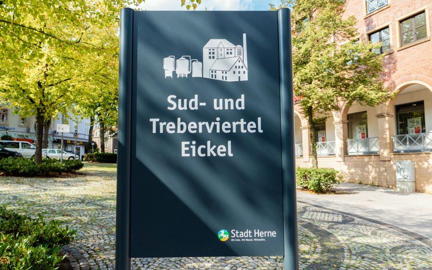 Schild für das Sud- und Treberviertel.