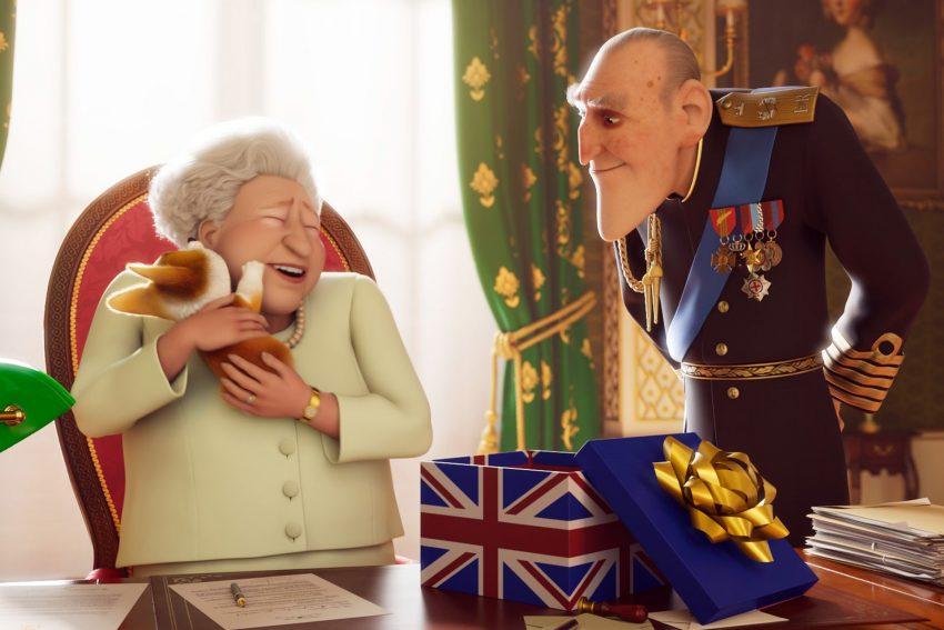 Elizabeth II. mit ihrem Lieblings-Corgi Rex und Prinz Philip.