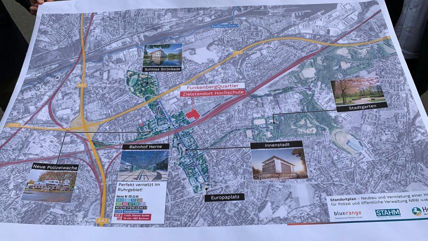 Erster Plan für mögliche neue Hochschule der Polizei und Verwaltung am brachliegenden Müller-Areal, neuer Name Funkenbergquartier.