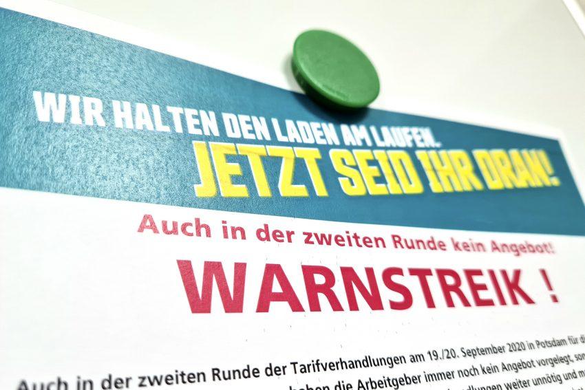 Aufruf der Gewerkschaft ver.di zum Warnstreik im öffentlichen Dienst in Herne (NW), am Mittwoch (14.10.2020). Aufnahme vom Montag (12.10.2020).