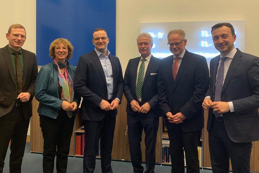 v.l. Timon Radicke, Bettina Szelag, Jens Spahn, Heinz-Werner Bitter, Theo Freitag, Paul Ziemiak.