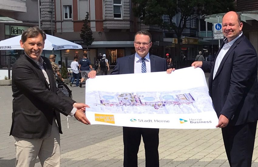 Dr. Frank Dudda, Dirk Plötzke und Holger Stoye stellen die Planungen für das Wanner Zentrum vor.