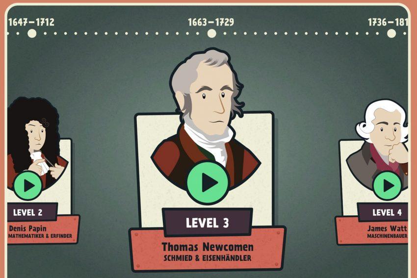 In fünf Leveln zur laufenden Dampfmaschine: Auf ihrer Zeitreise durch die Entwicklung der Dampfmaschine begegnen die Spieler vier Erfindern.