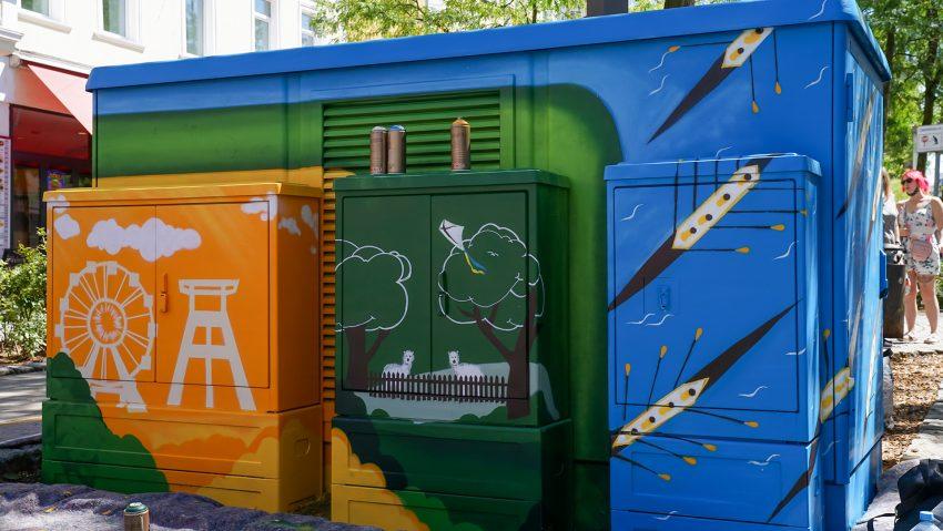 Graffiti Aktion an der Trafostation auf der Bahnhofstraße Höhe Kirchhofstraße.