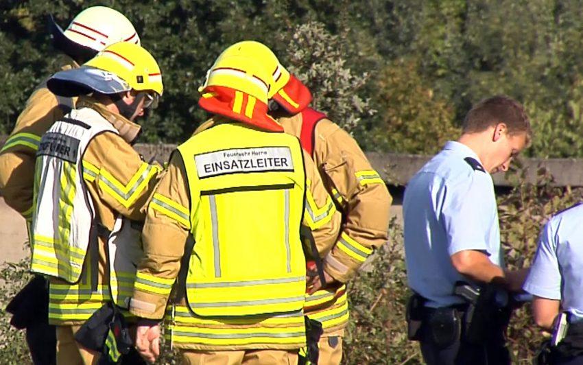 Feuerwehr und Polizei im Einsatz..
