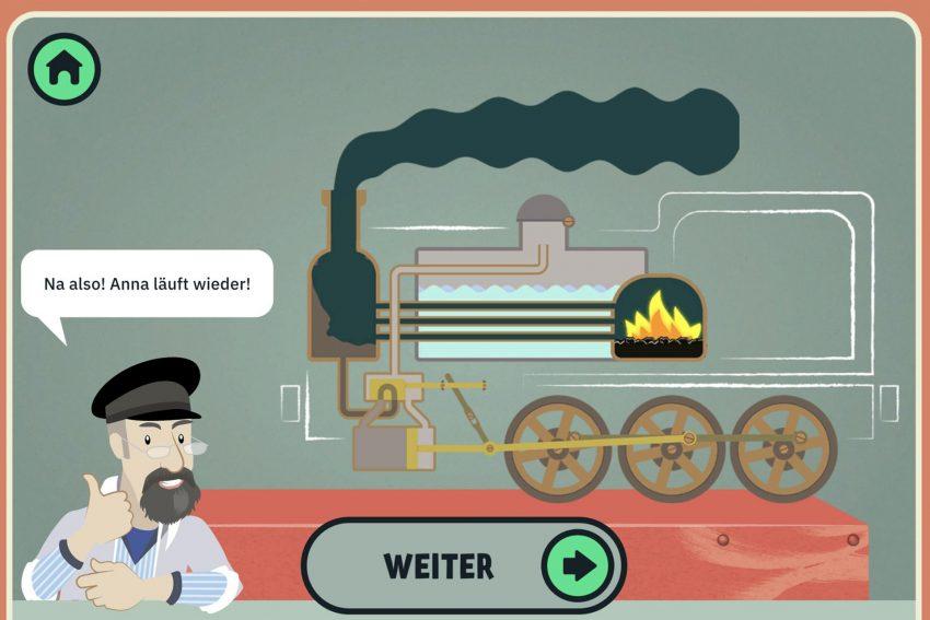 In fünf Leveln zur laufenden Dampfmaschine: Zum Schluss gilt es, Lok Anna aus dem Industriemuseum ans Laufen zu bringen.