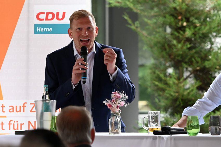 CDU-Sommerinterview mit Timon Radicke (links) und Thomas Kufen (rechts), OB der Stadt Essen