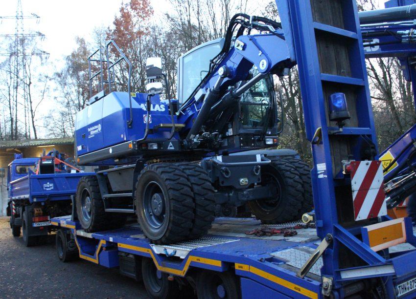 Der neue Radbagger wird neuer Radbagger der Marke Atlas 140W wird geliefert.