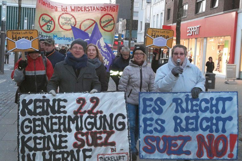 Montagsdemo (19.3.2018) gegen die Erweiterung der Firma Suez.