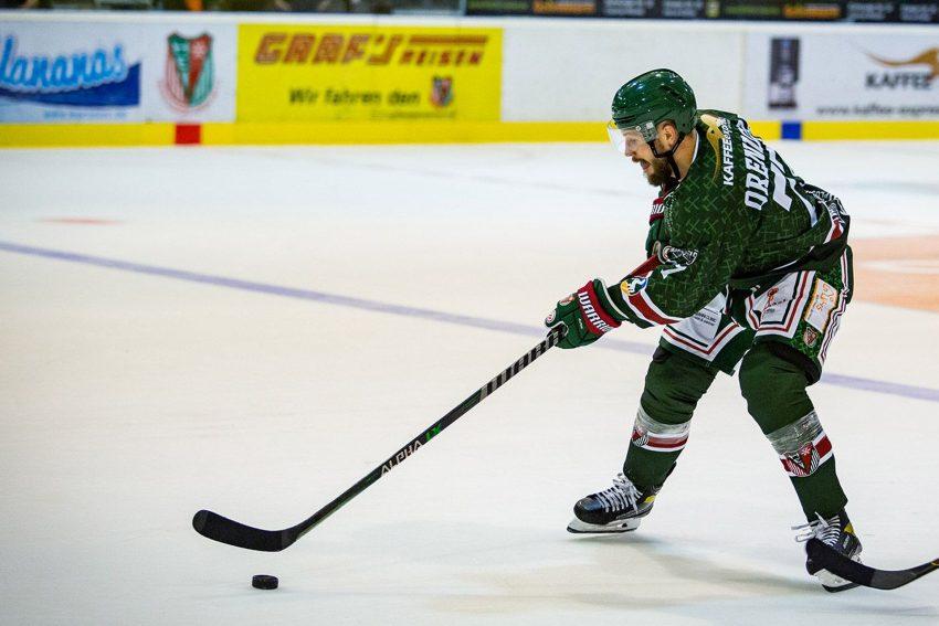 Kevin Orendorz erzielte beim 6:3-Auswärtssieg des Herner EV zwei Treffer bei den Rostock Piranhas.