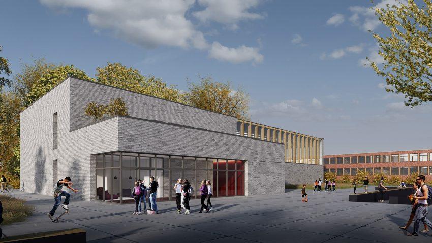 So sieht die Visualisierung der geplanten Multifunktionshalle am Hölkeskampring im Frühjahr 2021 aus.