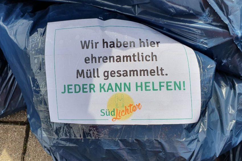 Die Mitglieder der quartiersbezogenen Selbsthilfegruppe 'Südlichter' waren am Muttertag (9.5.2021) in Sachen Müll unterwegs: Gesammelt haben sie im Flottmannpark.