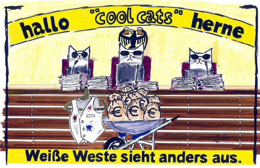 Die cool cats zum Hellmann-Gerichtsverfahren.