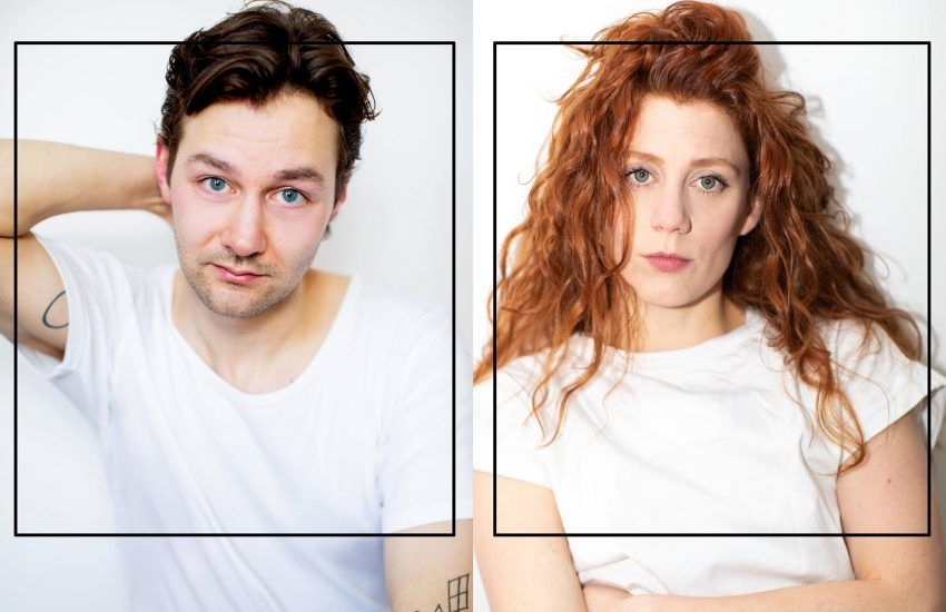 """Laura Thomas (r.) und Tim-Fabian Hoffmann bestritten am 30. Januar 2021 die Video-Konferenz-Uraufführung des Stücks """"Squash"""" von Matthias van den Höfel."""