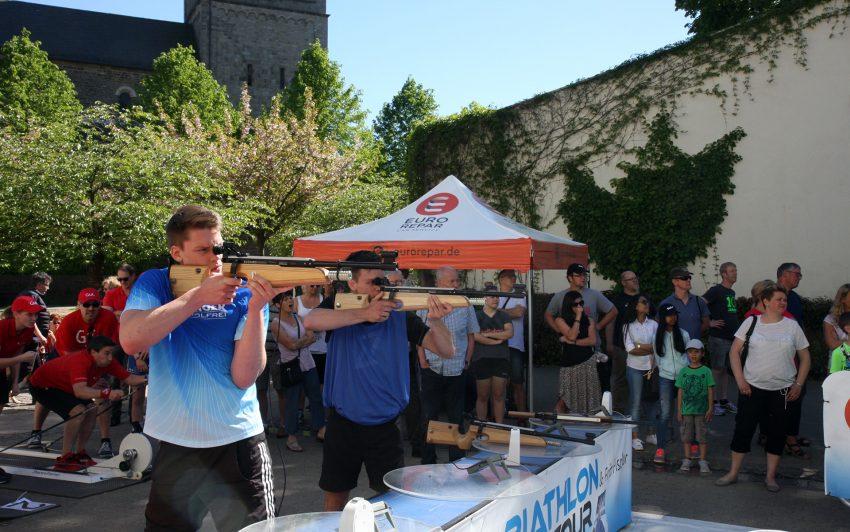 Bei der Biathlon-Deutschland-Tour.