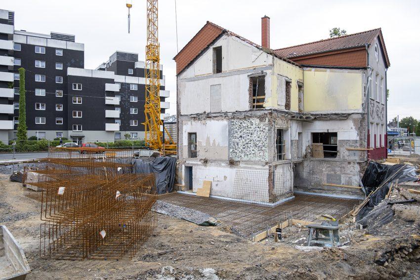 Die Baustelle für den Erweiterungsbau des evangelischen Gemeindezentrums am Europaplatz in Herne (NW), am Mittwoch (10.07.2019).