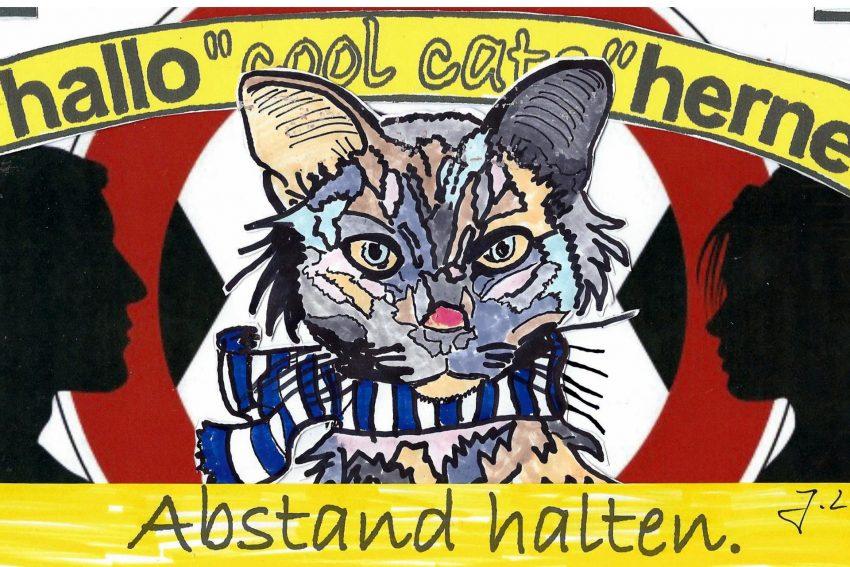Die halloherne Cool Cats mahnen: 'Kindas haltet den Abstand ein.'