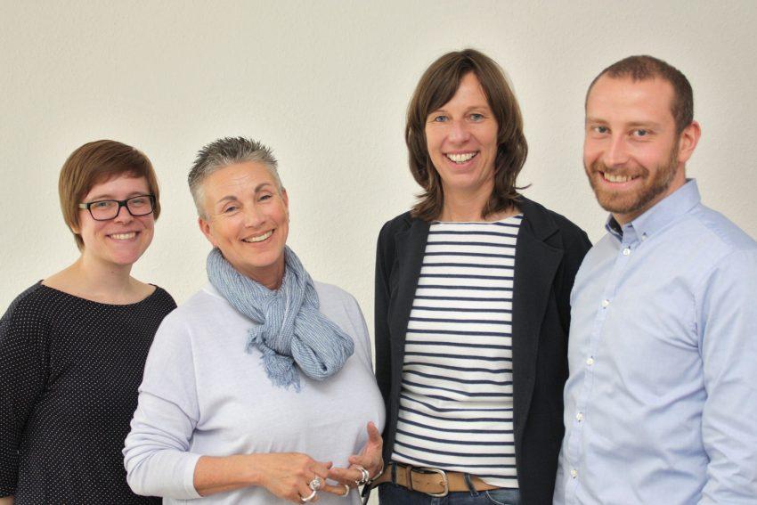 v.l. Friederike Paetzel, Barbara Schumacher, Ilka Genser und Dominik Raasch.