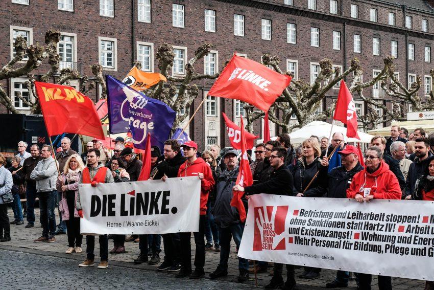 Kundgebung zum 1. Mai 2018 auf dem Rathaus-Vorplatz.