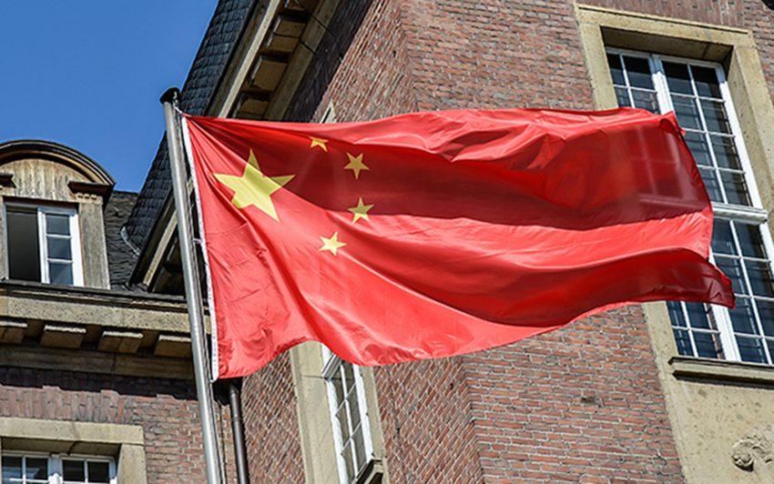 Chinesische Flagge vor dem Rahtaus Herne.