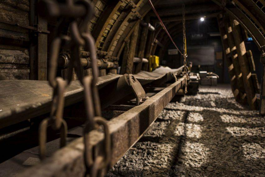 Förderband in der ausgebauten Strecke. Montanium - LWL-Industriemuseum eröffnet neue Untertage-Erlebniswelt auf Zeche Zollern.