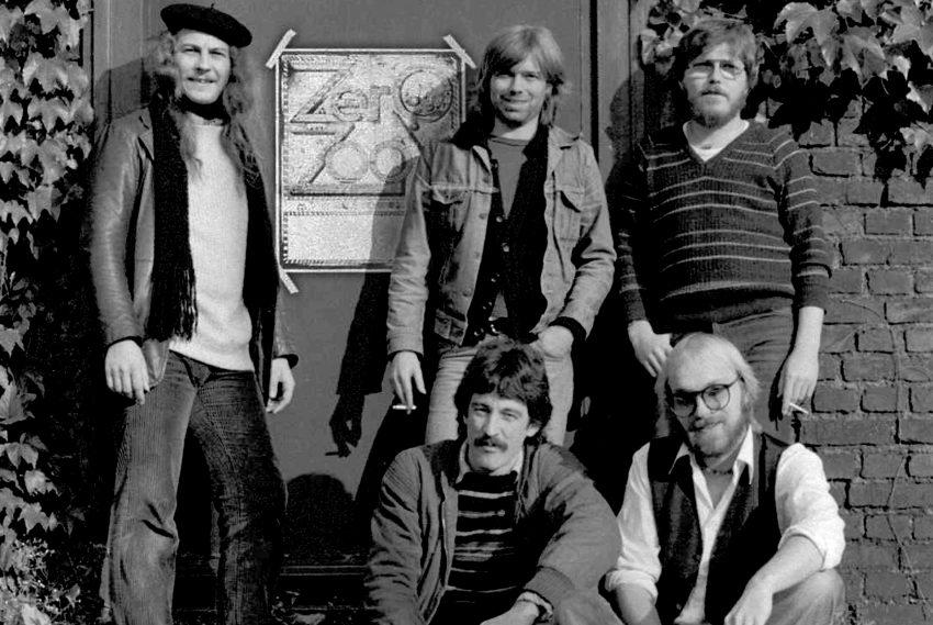Wanner Musikszene Ende der 1970er Jahre: Zero Zoom in der Besetzung: v.l. Peter Habermehl, Norbert Müller, Joe Hanisch. vorne: Jens Blome, Dietmar Witzke.