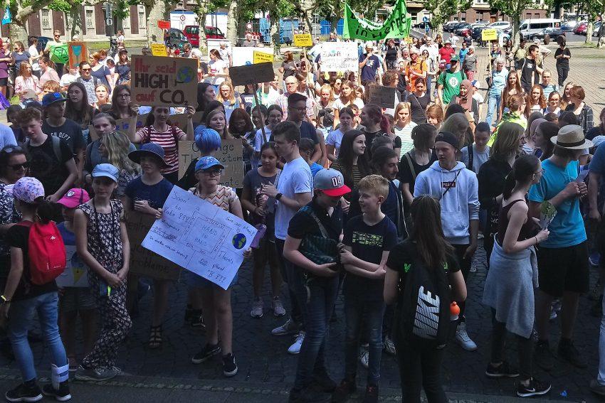 Demonstranten auf dem Rathausplatz.