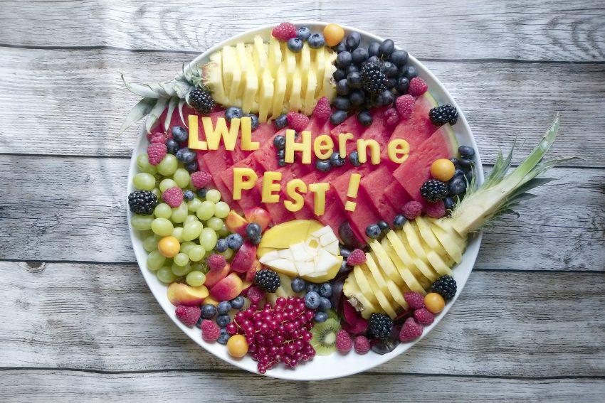 Obstteller, mitgebracht von einer Teilnehmerin für das Basteln von Pestmasken im Archäologiemuseum in Herne.