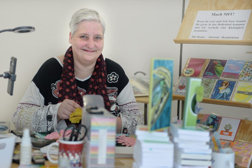 Sigrid Wille ist mit ihrer Werkstatt ARTig zu Gast im Kreativ.Quartier Hallenbad.
