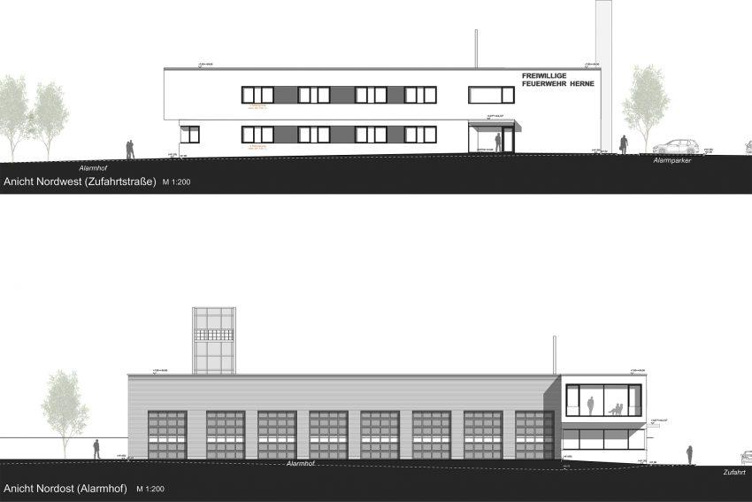 Entwurf für das neue Feuerwehrgerätehaus Mitte der Freiwilligen Feuerwehr Herne an der Koninerstraße 8 in Herne-Holsterhausen, 04.04.2019.Peinelt & Partner Architekten PartmbB, Alexandrinenstraße 4, Bochum
