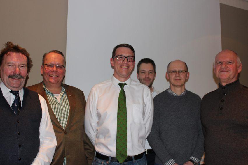 v.l. Michael Greif (1. stellv. Hegeringleiter), Kai-Uwe Schmidt (Hegeringleiter), Johann Ulshöfer (Beisitzer), Benjamin Majert (Beisitzer), Dr. Lutz Pichel (Schriftführer), Dr. Johannes Philipp (Beisitzer).